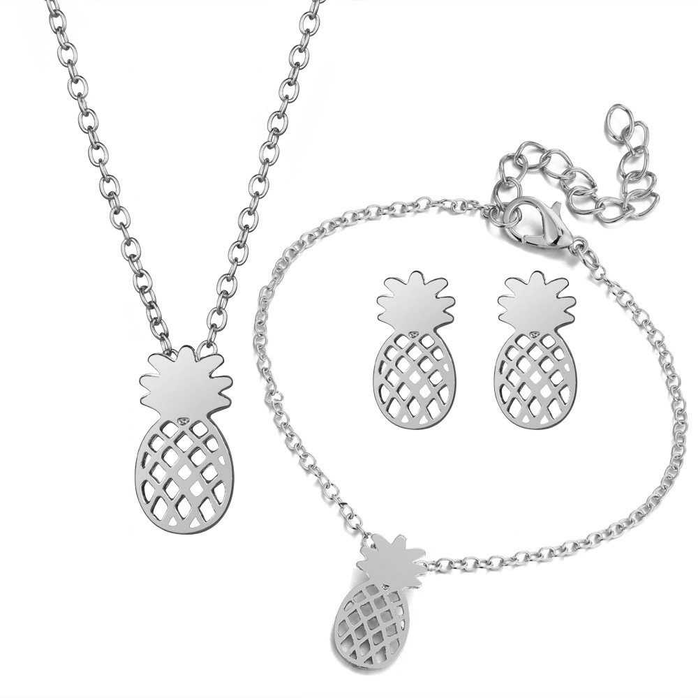 Perhiasan Set Emas Warna Nanas Liontin Jaringan Kalung Wanita Sederhana Menawan Pendek Laporan Gelang untuk Wanita Perhiasan Set