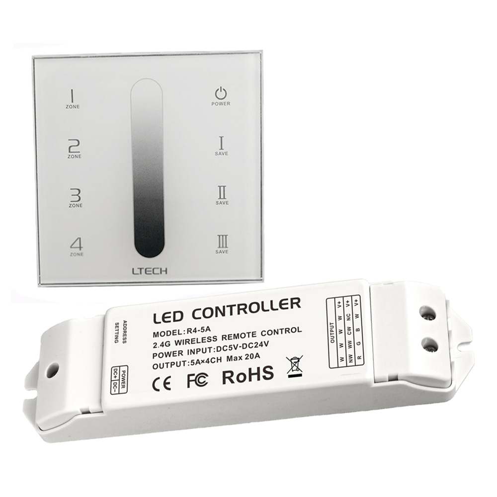 Здесь продается  LTECH DX5 Led Dimmer 110V 220V High Voltage Glass Touch panel Wall Mount 2.4GHz RF + DMX512 4 Zone Dimming with R4-5A Receiver  Свет и освещение