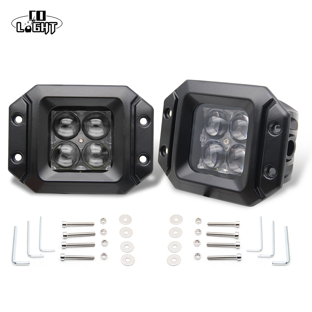 CO LIGHT Headlamp 2Pcs 20W 2000Lm Spot Flood Beam Flush Mount Pod Work Lights for Off