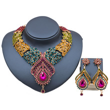 decoration new costume necklace and earrings bridal jewelry sets india crystal for party high quality free