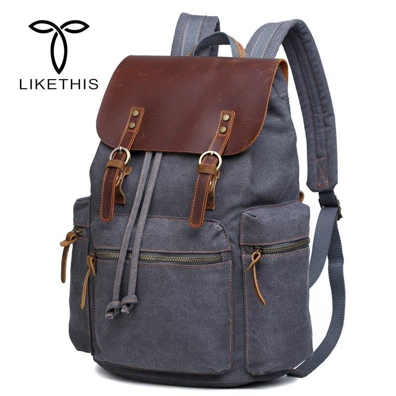 New Vintage Leather Military 16 inch Backpacks Men/Women School Backpacks Men Travel Bag Big Canvas Backpack Large Bag Berchirly цена 2017