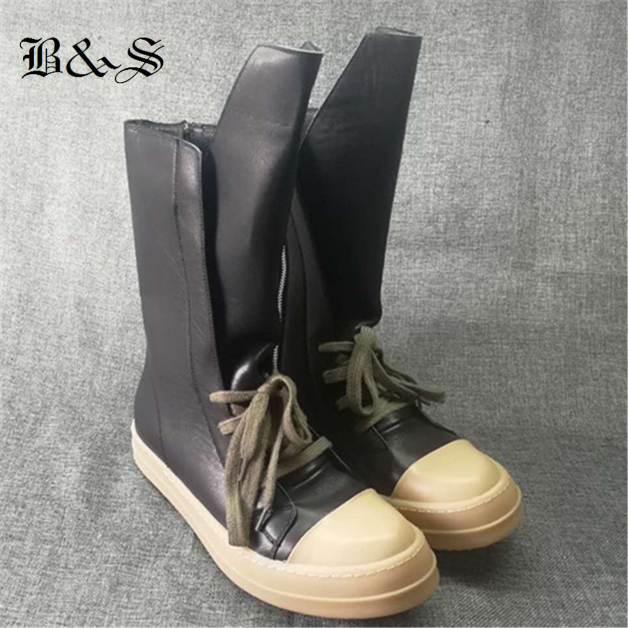 Black& Street  2018 S/S Frist Yard of Leather High Long Tongue Boots Plus Size Luxury Zipper Rock Stage BootsBlack& Street  2018 S/S Frist Yard of Leather High Long Tongue Boots Plus Size Luxury Zipper Rock Stage Boots