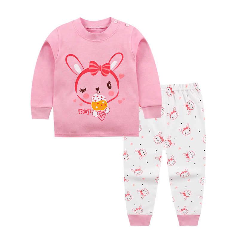 2018 conjunto de ropa para bebés recién nacidos gato de dibujos animados de manga larga Tops + Pantalones 2 piezas trajes ropa para niños 0-24month trajes