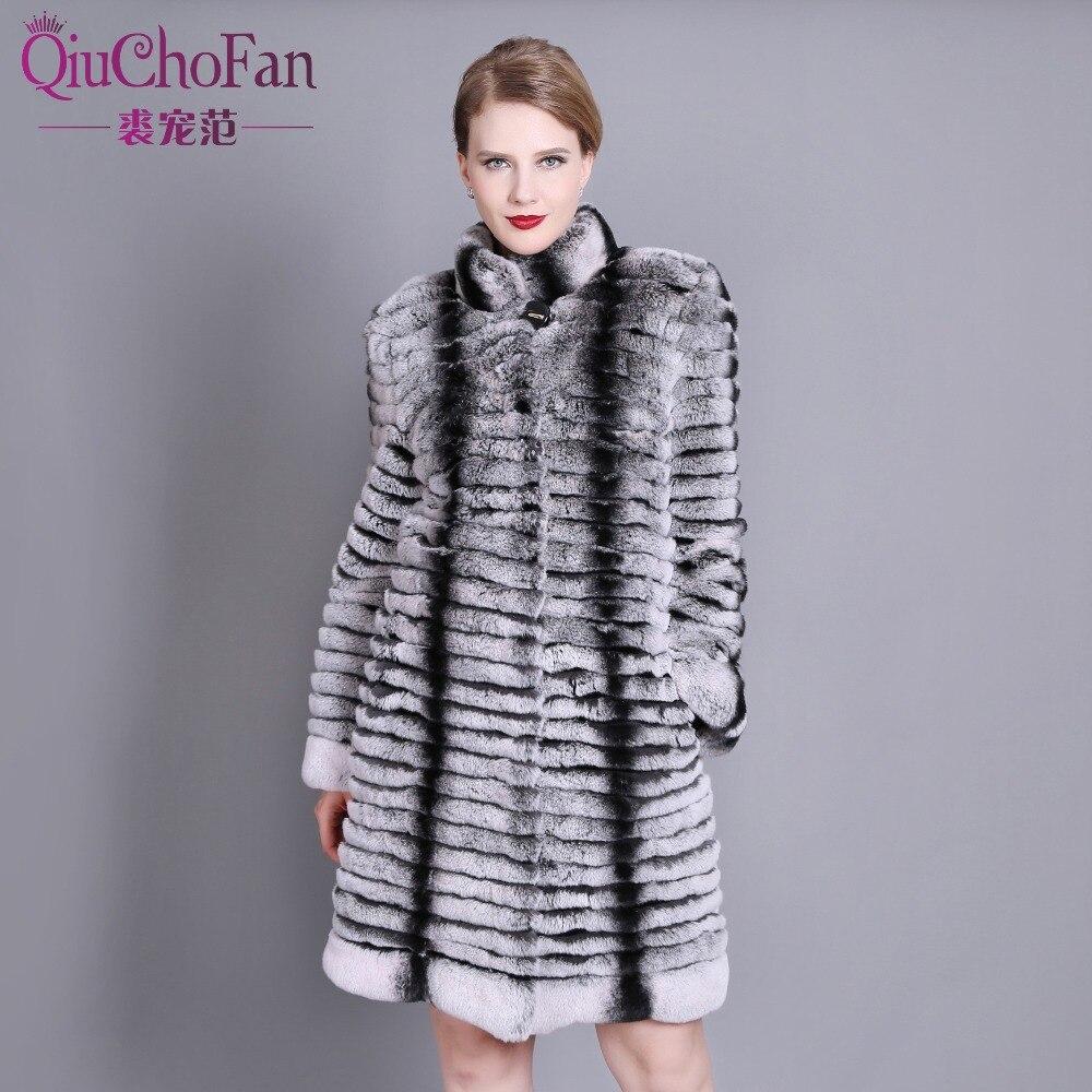 2017Real natural rex rabbit fur coat high quality 100% genuine rex rabbit fur chinchilla color winter jacket free shipping