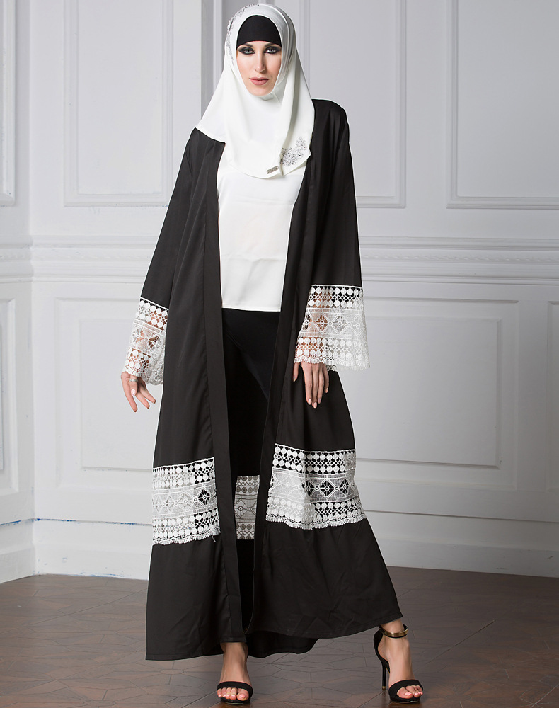 muslim women dress picture islamic cardigan abaya belted robe arab