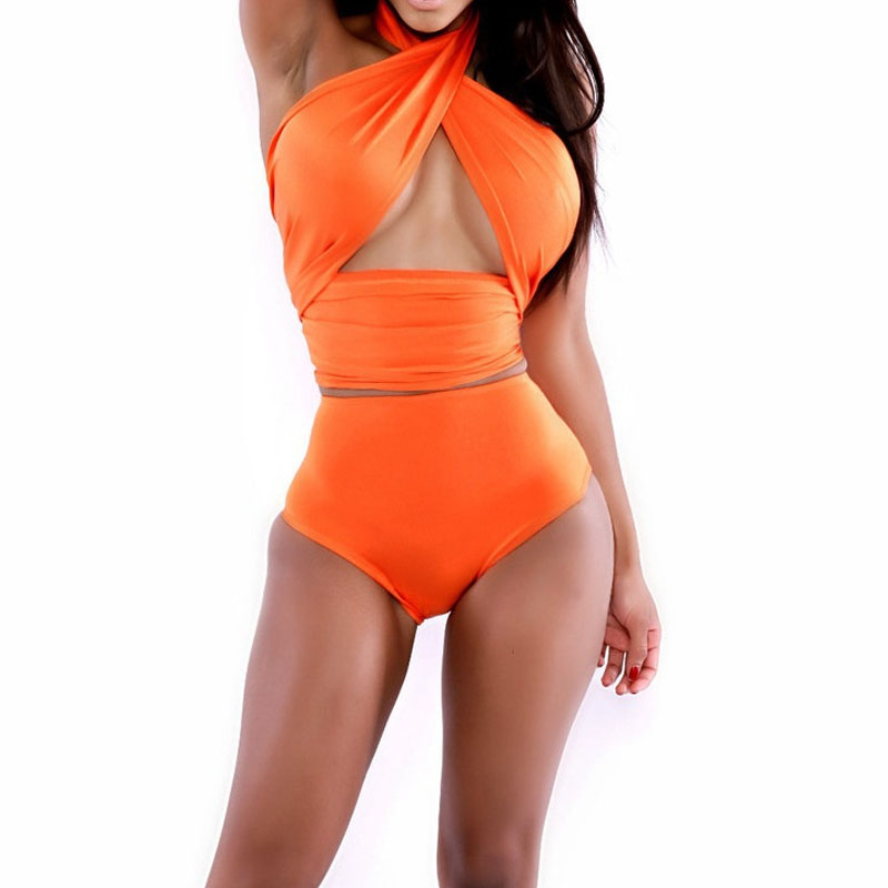 Sexy fashion beach V Neck swimsuit wrapped chest Bandage Women Sets 2 Pieces Suits Top&Pants Women bikini milk silk