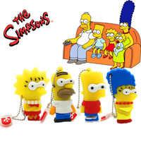 Usb flash drive memoryusb 3,0 16gb 1 GB 2GB 4GB 8GB 16GB 32 gb 64GB memoria usb al por mayor de dibujos animados de Los Simpsons pendrive 64 gbpen coche personalizado