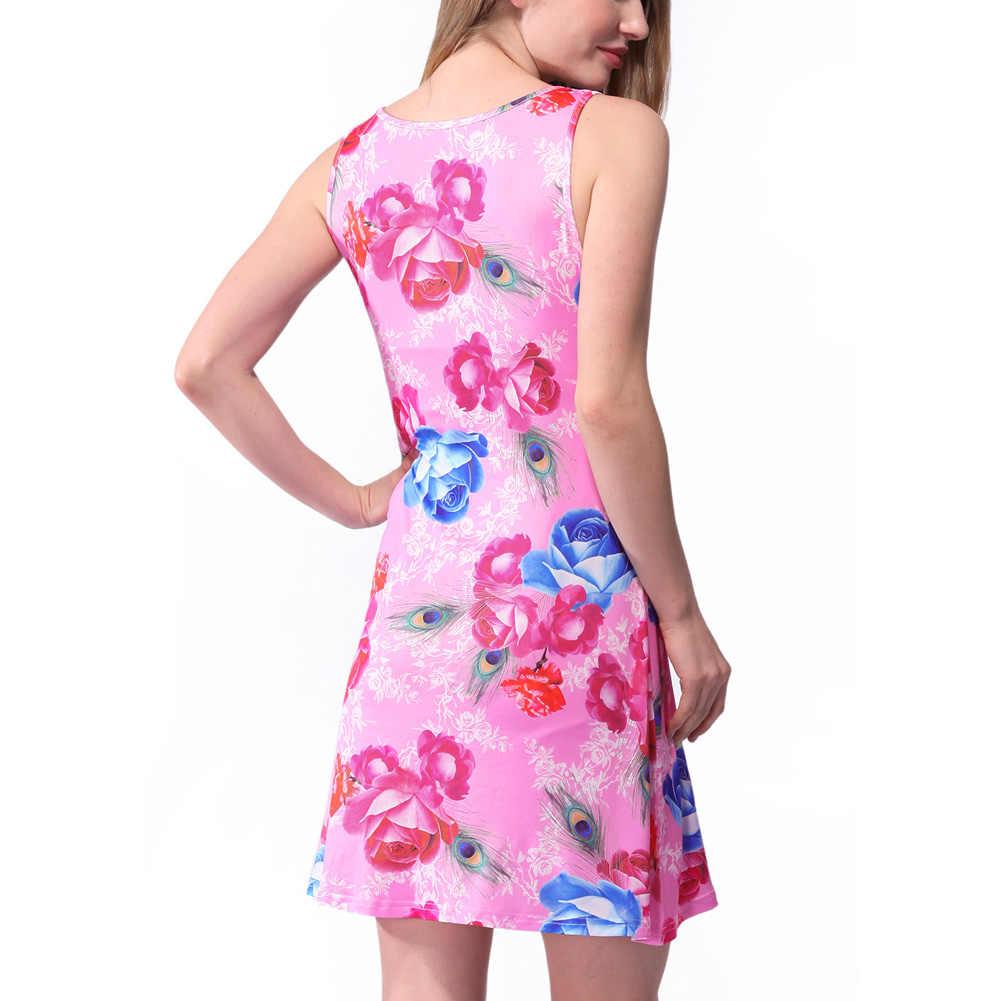 2019 г. летние пикантные для женщин мини-жилет платье геометрический цветочный принт Scoop средства ухода за кожей Шеи сарафан без рукавов Красочные платье с коротким и