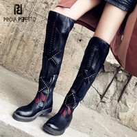 Prova Perfetto 2019 New Patchwork Weave Women Over The Knee Boots Black Thigh High Boots Rivets Studded Platform Flat Boats