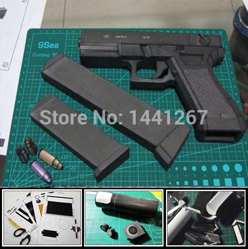 3D Paper Model 1: 1 Scale Pistol Handmade Toy Gun Waterproof  Toy