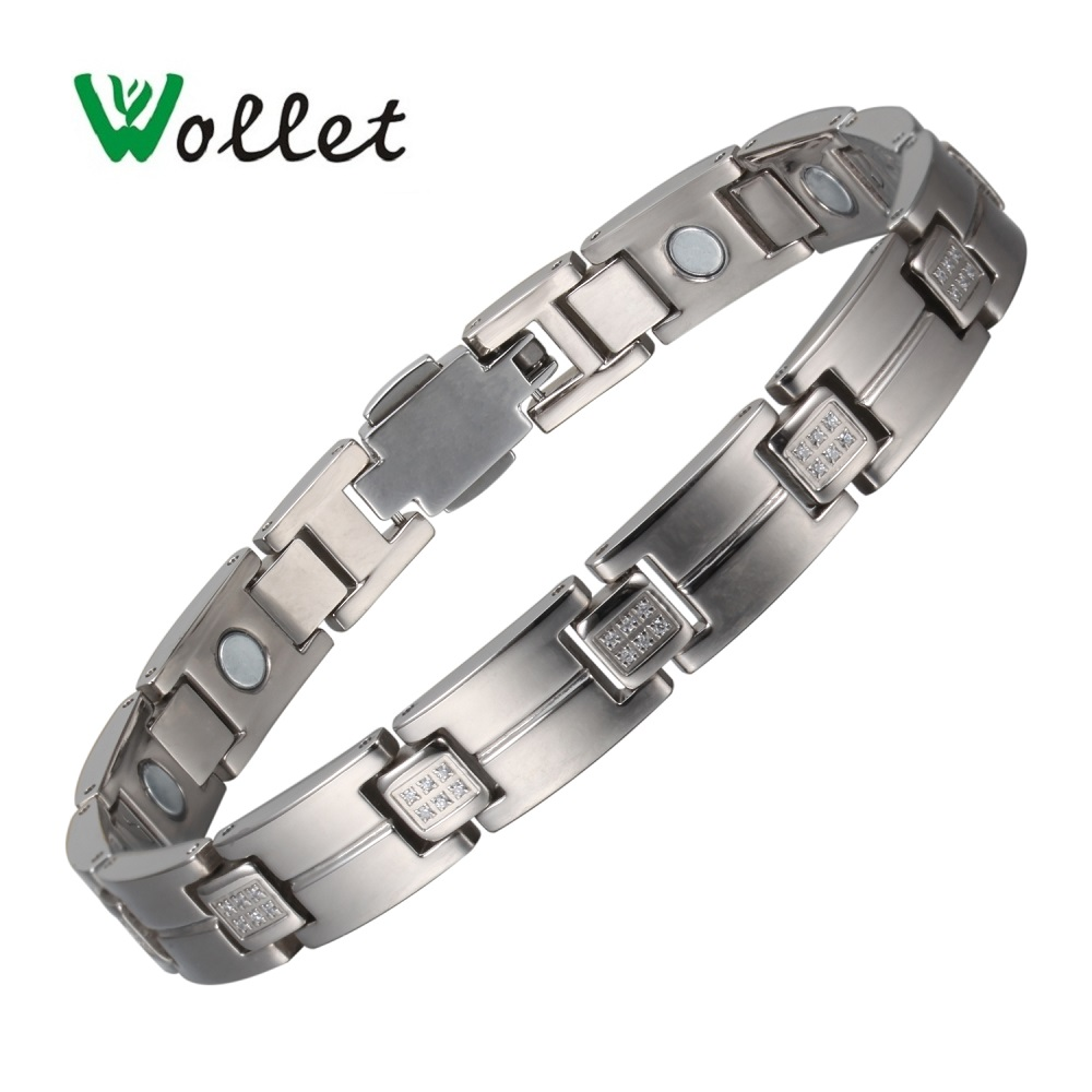Wollet Jewelry Magnetic Therapy CZ Stone Titanium Bracelet Bangle for Women Silver Color Health Care Healing Energy All Magnets