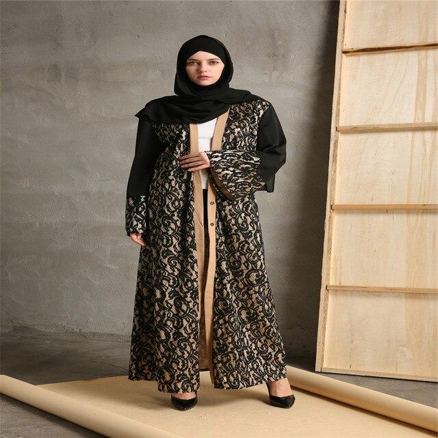 Fashion Muslim Abaya Cardigan Robes Maxi Dress Women Islamic Dubai ...