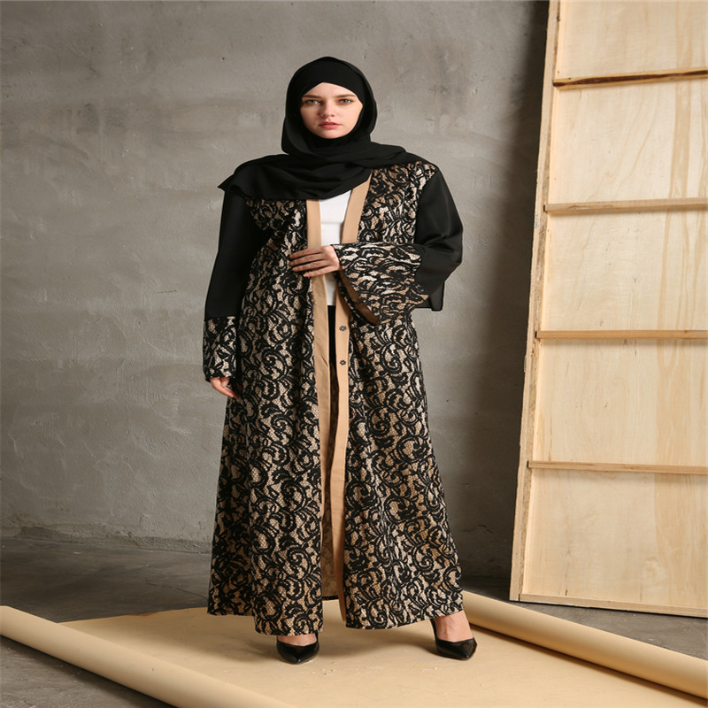 Mode Musulman Abaya Robes Ouverts Cardigan Patchwork Robe Maxi Robe - Vêtements nationaux - Photo 2