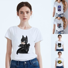 Batman Lovely Cool cartoonSummer Printing Womens Modal Casual Harajuku Round Collar White Short Sleeve Fashion leisure T-shirt