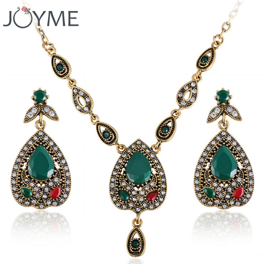 Elegant Turkish Jewellery Set Pear Jewelry White Crystal Green Wedding  Necklace Earring Sets For Women Bohemian