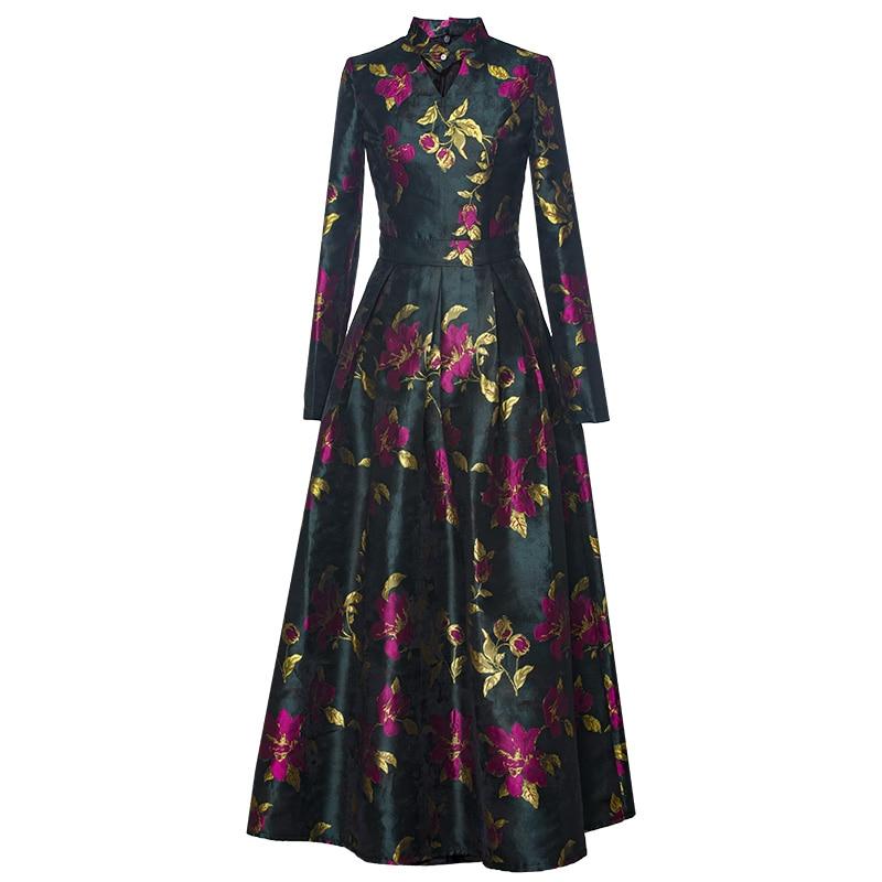 0fb8dfff9ff6 Best Quality Women Long Dress 2018 Autumn Winter Maxi Dress Ladies Vintage  Flower Print Long Sleeve