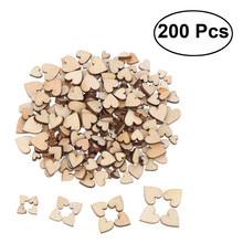 200 pçs de madeira coração confetes para artesanato festa de casamento favor chá de bebê decoração diy mesa artesanato decoração de natal