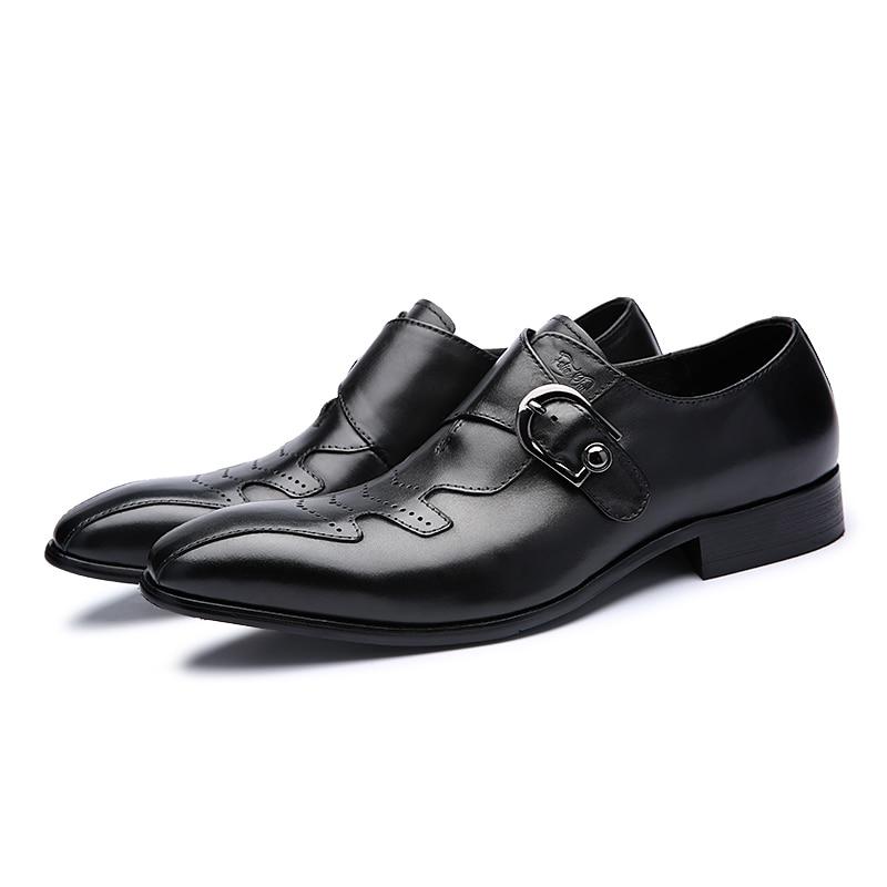 Qualidade Genuíno Pé Casamento Do Mycolen Casuais Dedo Sapatos Alta Cinta De Fivela Dos Vestem Negócios Preto Homens Vestido Pontas laranja Couro Formais Se 6ww5Ft