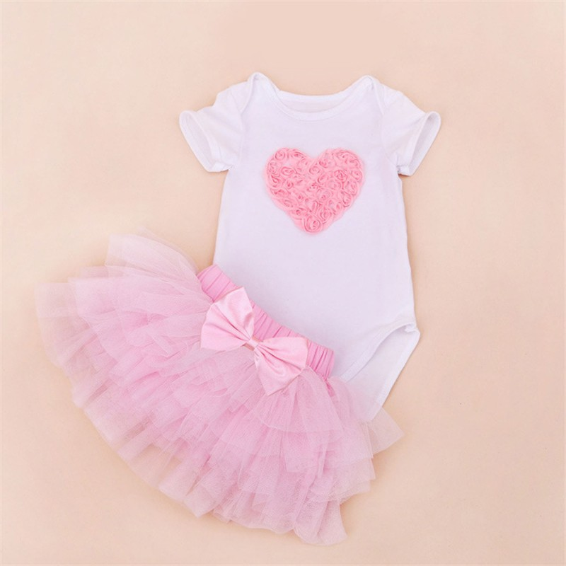 Tutu Baby Birthday Set Summer Short Sleeve Roupas Infantis Bebes 1st Birthday Outfit+Tutu Pettiskirt Dress Party Clothing Sets 7