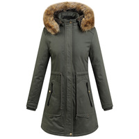 New Winter Women's Coat Inner Fleece Thicker Windproof Washed Cotton Jacket Warm Hooded Military Long Parka Wadded Jacket Woman