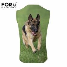 FORUDESIGNS 3D German Shepherd Dog Print Men Vest Summer Breathable Sleeveless Tank Top for Male Black Animal Design Tops Tee