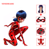 VEVEFHAUNG Miraculous Ladybug Girls Cosplay Costumes Halloween Christmas Costumes For Girls Wig Kids Ladybug Marinette Cosplay