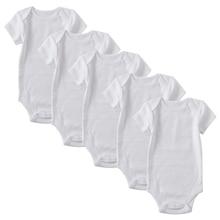 Newborn Bodysuit Baby Babies Girl Boy Clothes Summer Short Sleeve 100%cotton White Infant Clothing