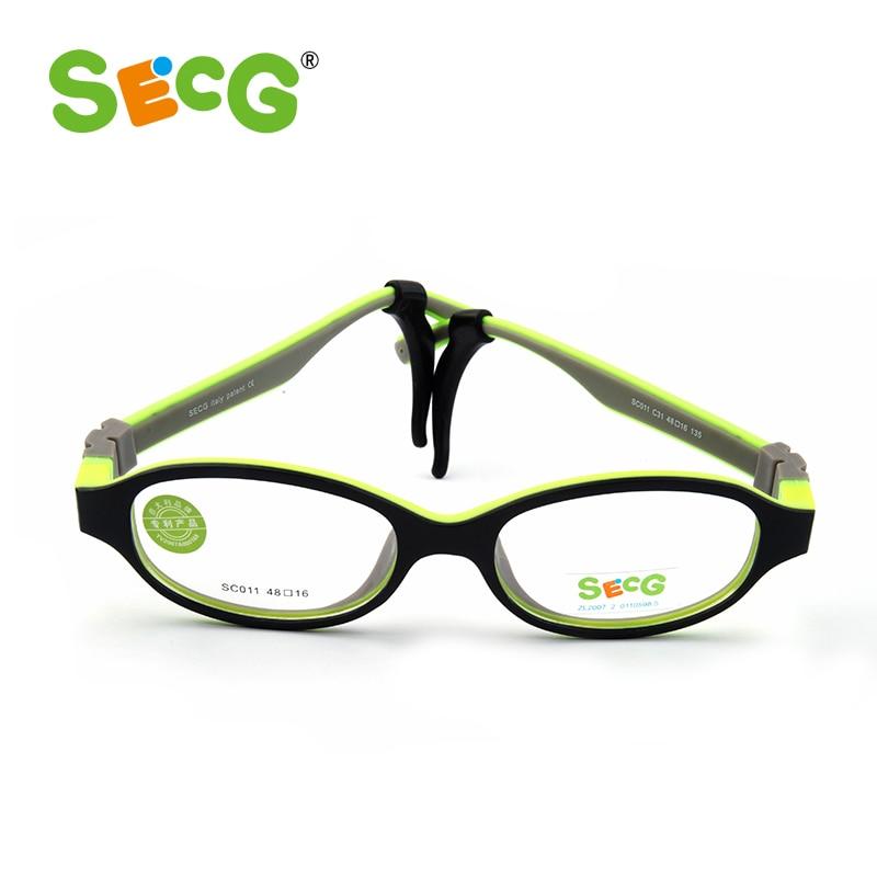 SECG TR90 Ultralight Soft Flexible Safety Kid Children Frame Glasses Optical Eyeglass Oculos Rubber Boys Girls Rubber Band