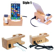 ФОТО phone charging dock station for apple watch for iphone 8 7 7 6 6s plus se 5c 5 5s s 9 wooden stand holder with charger usb port