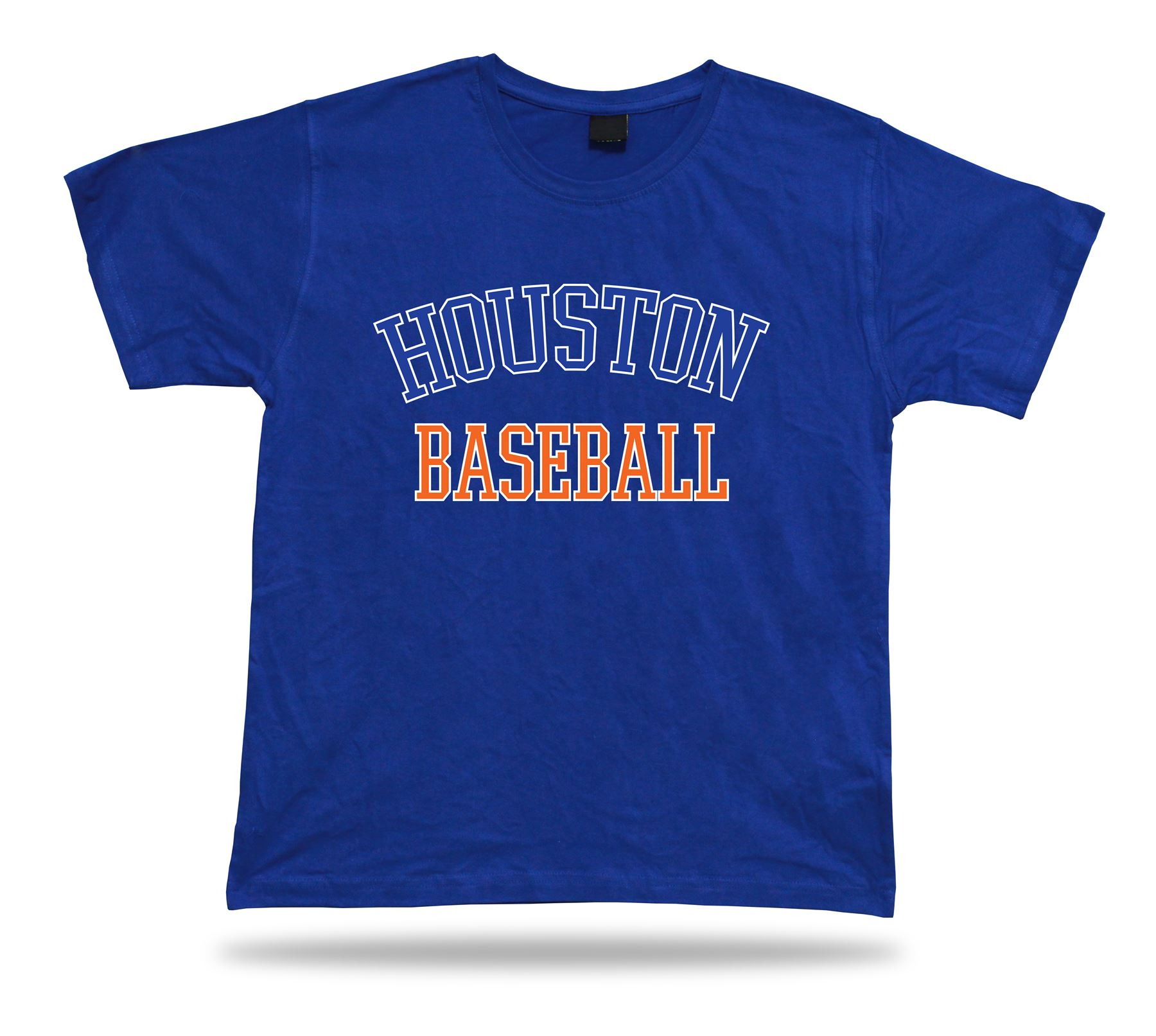 Houston Baseball T Shirt Tee Blue White Orange Tx Usa Summer Apparel