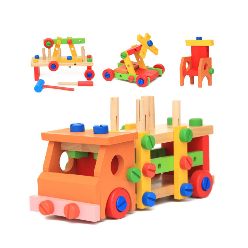 Chanycore Baby Learning Educational Wooden Toys Blocks Screws Nuts Assemblage Geometric Shape Truck ww Kids Gifts 4207 15 holes intelligence box wood geometric blocks baby learning assemblage toys