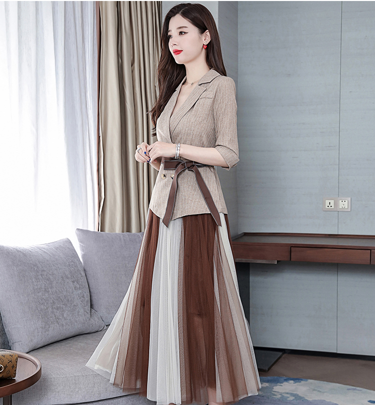 2019 Two Piece Sets Outfits Women Office Suit With Belt And Pleated Skirt Suits Vintage Korean Ladies 2 Piece Sets Femme 44