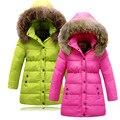 Crianças Jaqueta de Inverno Para Baixo Para As Meninas de Pele Natural para inverno Quente Grosso meninas Casaco de Inverno 3-16 Anos Crianças Outerwear Casacos Para Adolescentes meninas