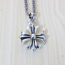 925 Sterling Silver Cross Necklace Male Personality Punk Thai Silver Pendant Female Retro Creative Sweater Chain
