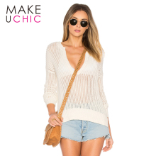 MAKEUCHIC Apparel 2017 Summer Women Sweaters Casual Solid Beige Sexy Sheer Female Sweater Streetwear Brief V-Neck Lady Pullovers