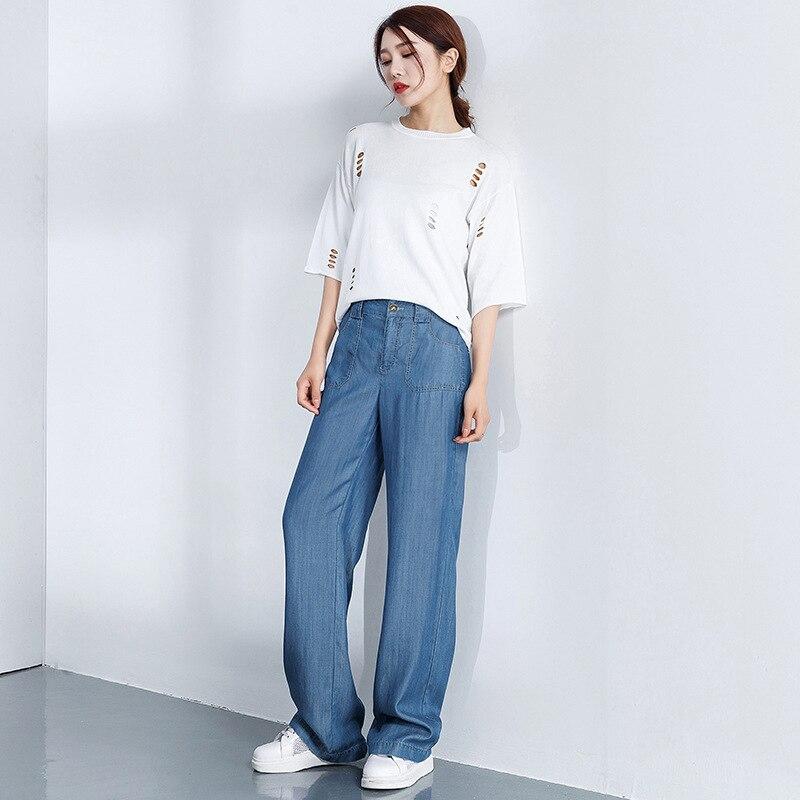 Makuluya lato jesień moda wiosna kobiety casualowe spodnie jeansowe szerokie nogawki Tencel dżinsy kobiece wysokiej talii w stylu Vintage L6 w Dżinsy od Odzież damska na  Grupa 2