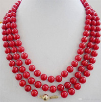 Long 50 6 7mm Natural Japan Red Coral Round Beads Jewelry Necklace AAA Grade>>> free shipping