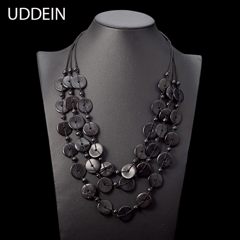 UDDEIN Vintage Jewellry Black Wood Tassel Statement Choker Necklace & Pendant Bohemian Handmade Necklace For Women Collier vintage multilayered faux suede bowknot leaf charm choker necklace for women