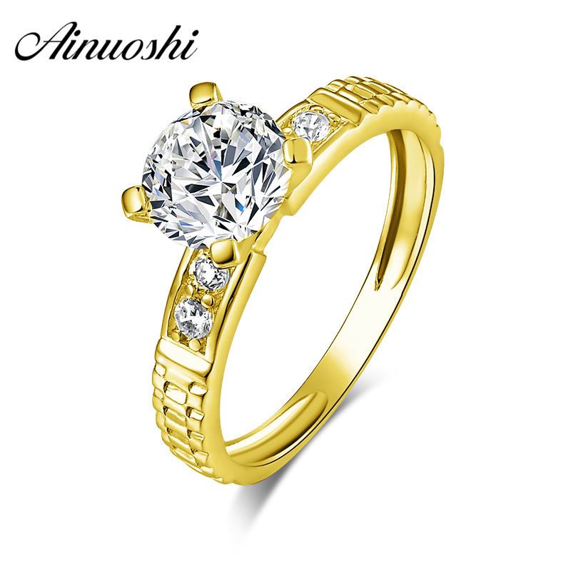 AINUOSHI 10K Solid Yellow Gold Women Wedding Ring Simulated Diamond Jewelry Anel de ouro Fashion Femme Simulated Diamond Ring ainuoshi 10k solid yellow gold wedding ring 2 ct round cut simulated diamond anel de ouro female wedding rings for women gifts