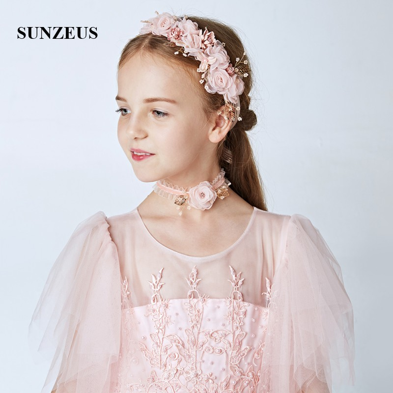 Pink Headband Neck Ring And Wrist 3 Pieces Wedding Accessories Flowers Vintage Bridesmaid Garland Head Band  SG27