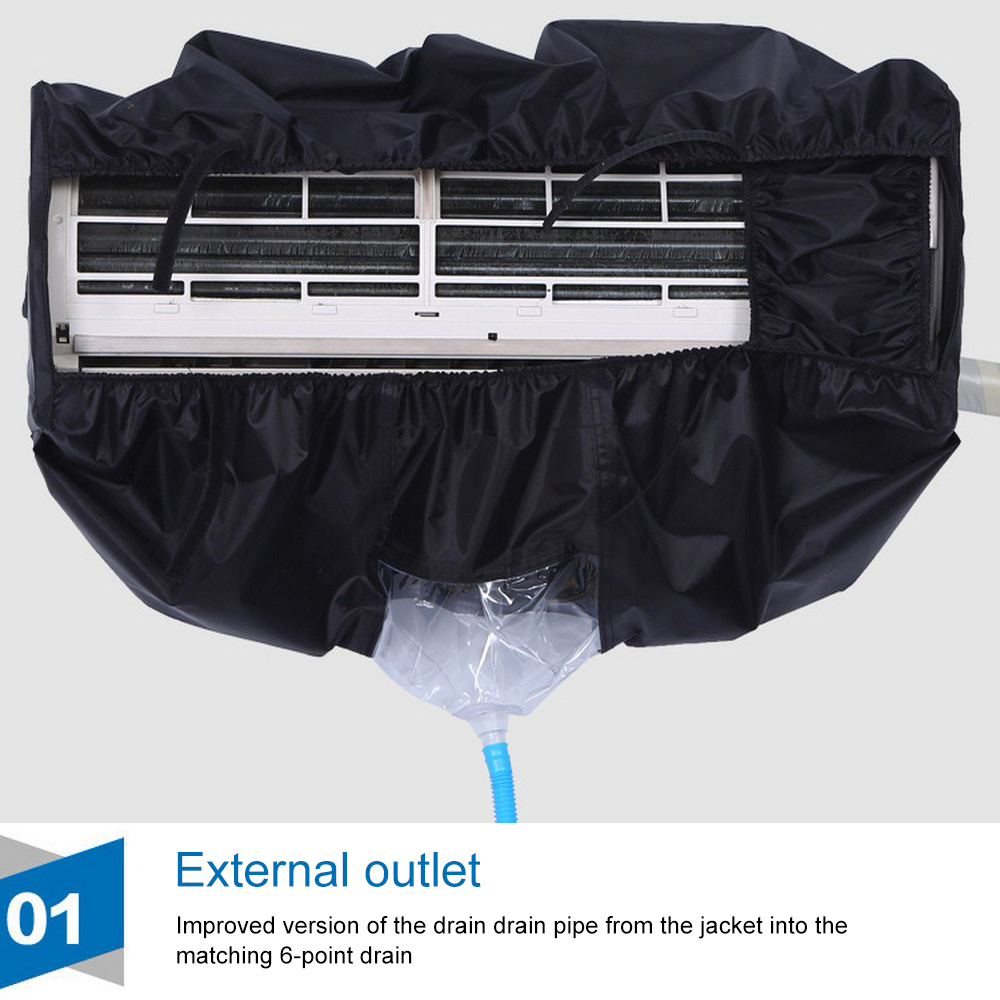 Air Conditioner PU Cleaning Dust 1-1.5p/2P-3P Washing Cover Clean Waterproof Protector Black DIY Household Tools