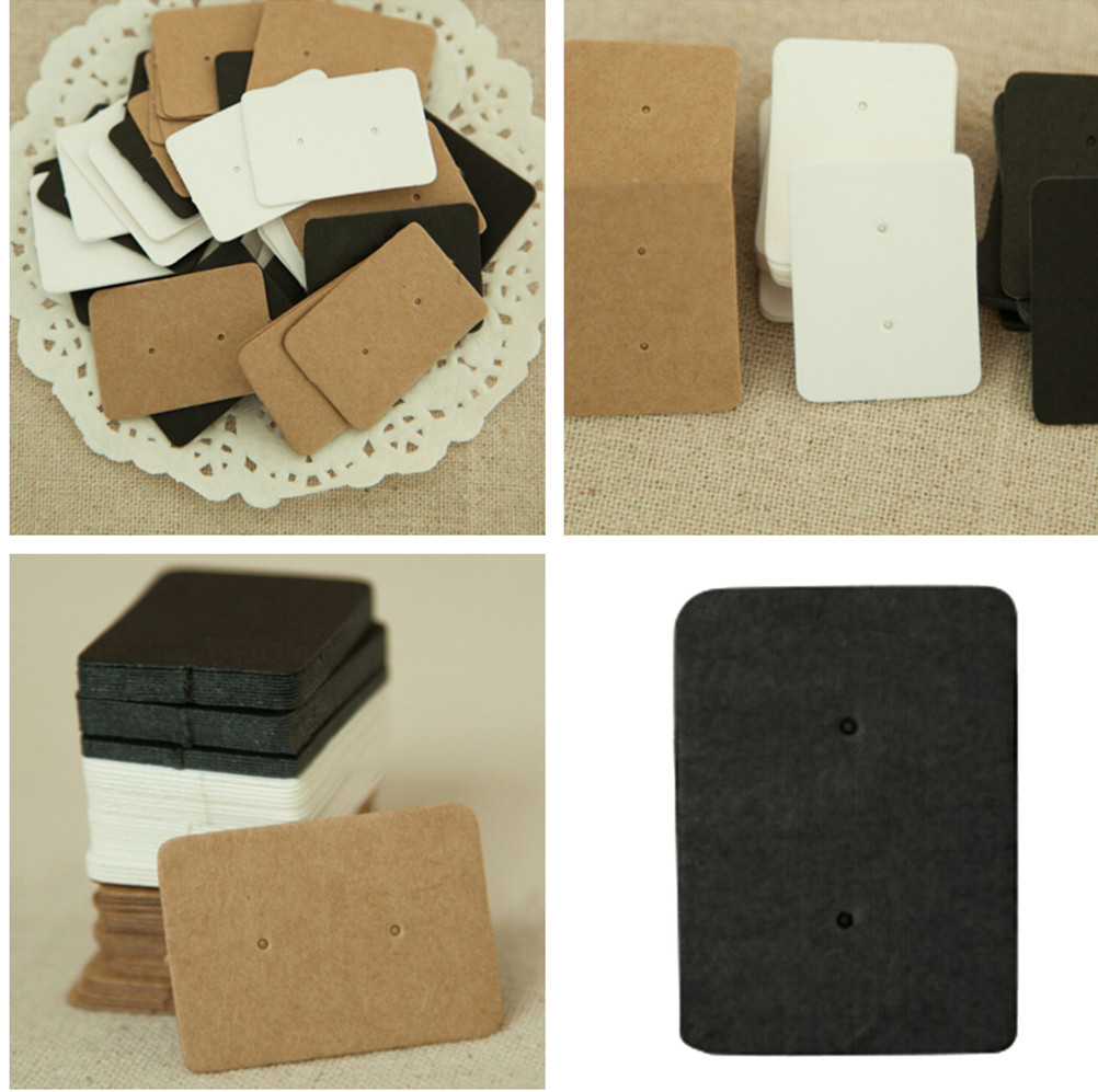 50Pcs  2.5*3.5cm Jewelry Display Card Earring Kraft Paper Ear Stud Hang Tag  Kraft Paper Tag Ear Ring Paper Hang Price Tag