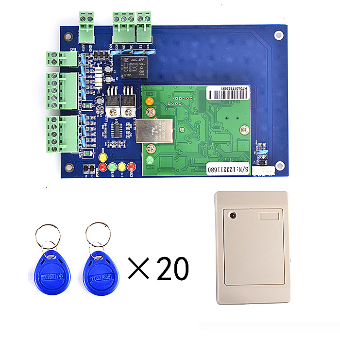 RFID Access Control Board TCP/IP+1 Pieces Card Reader+20pcs RFID card+Free English Software biometric fingerprint access controller tcp ip fingerprint door access control reader
