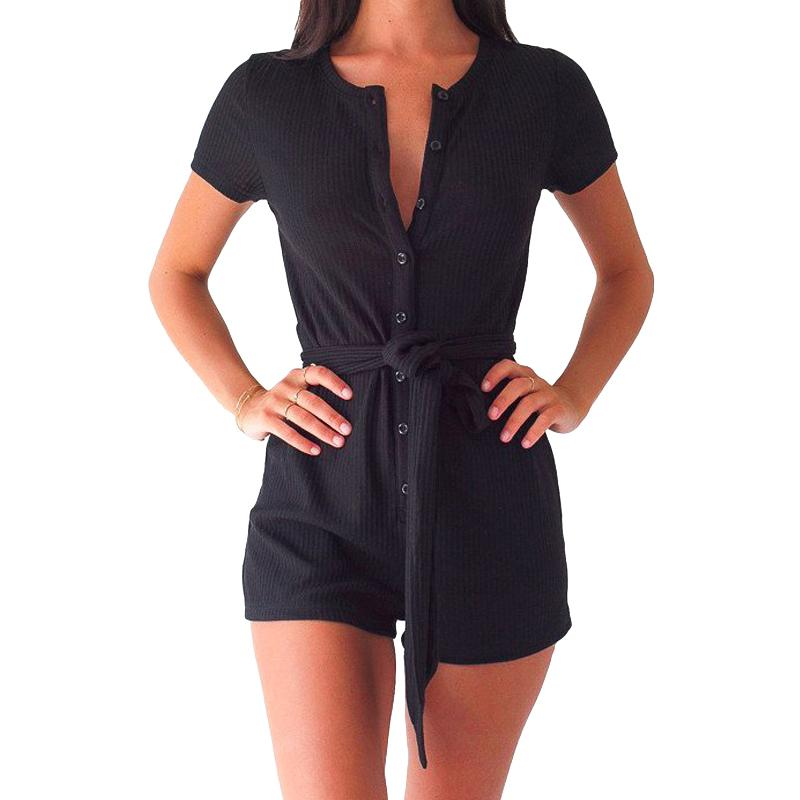 2019 Sexy Women Summer Jumpsuit Solid Color Ribbed Buttons Tie Waist V Round Neck Short Sleeve Casual Playsuit Rompers