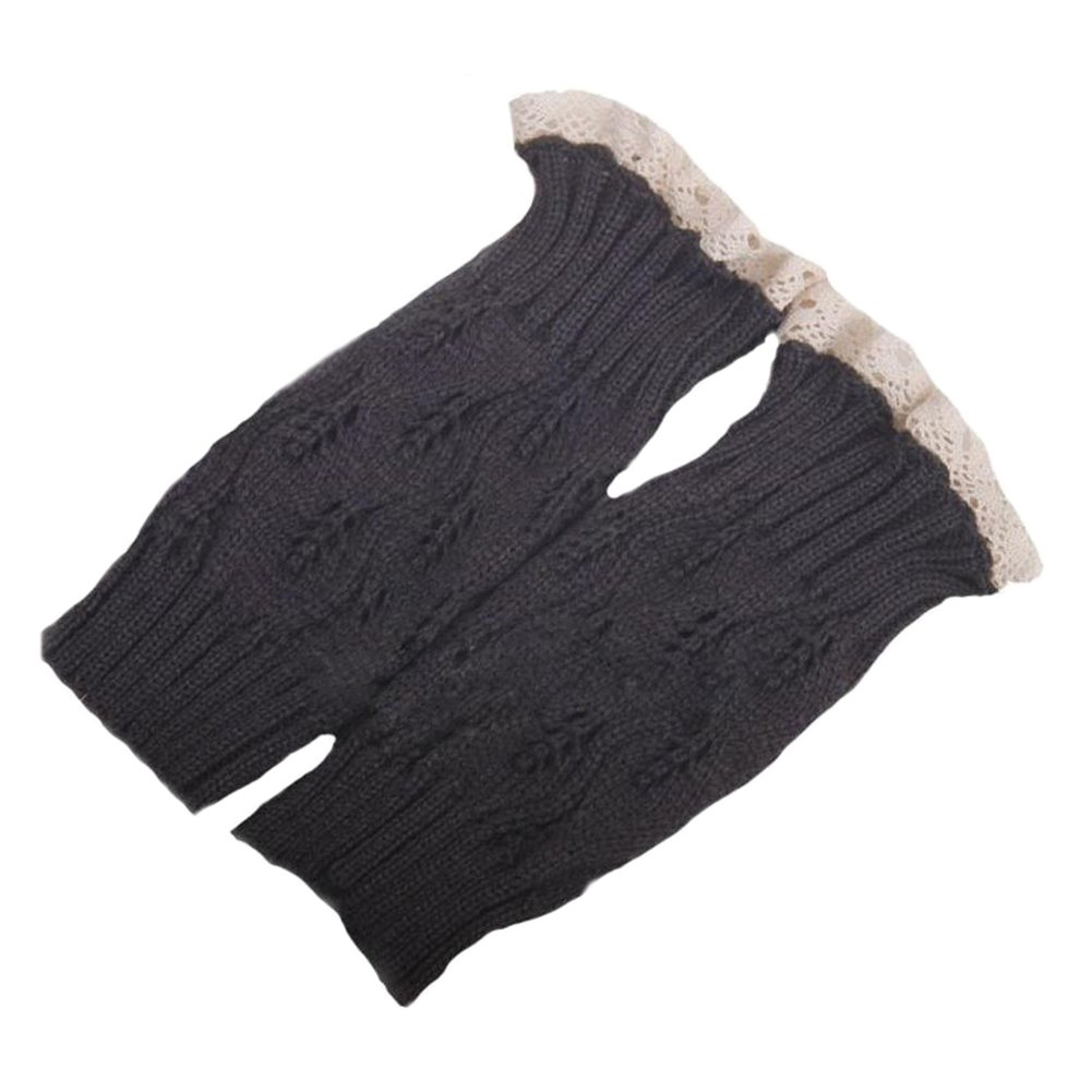 BFYL NEW Womens Fashion Crochet Knitted Lace Trim Boots Cuffs Leg Warmers Socks 22*10cm(Dark Gray)