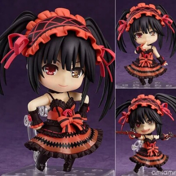 NEW hot 10cm Q version DATE A LIVE Tokisaki Kurumi mobile action figure toys collection christmas toy doll 2016 new short bobo haircuts wigs silver white strike the blood date a live tobiichi origami touhou project youmu konpaku