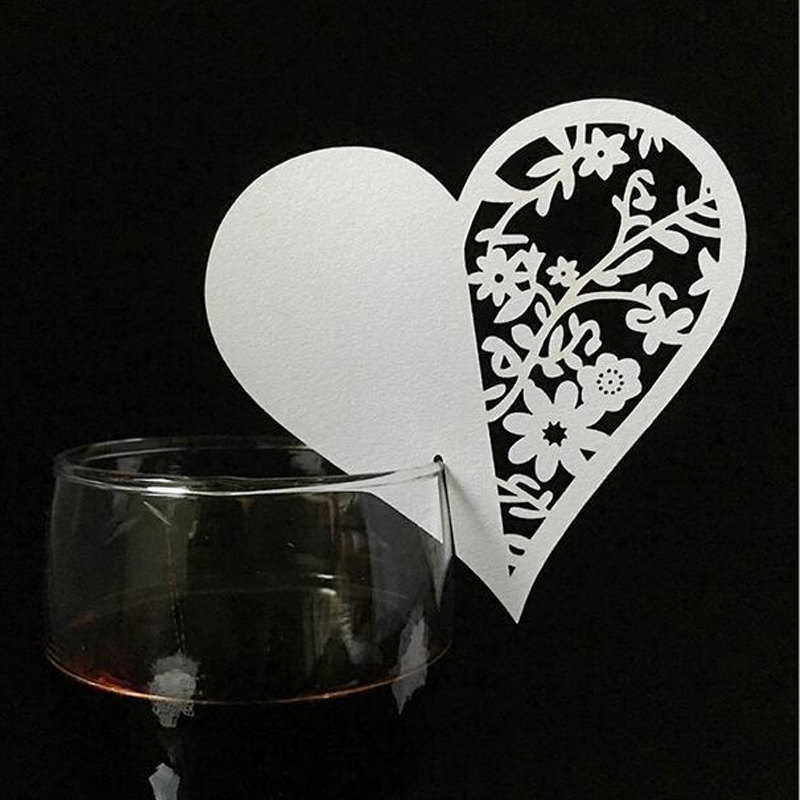 50pcs Laser Cut Love Heart Table Wine Glass Name Place Cards Wedding Birthday Gift Card Baby Shower Event Party Favor Supplies image