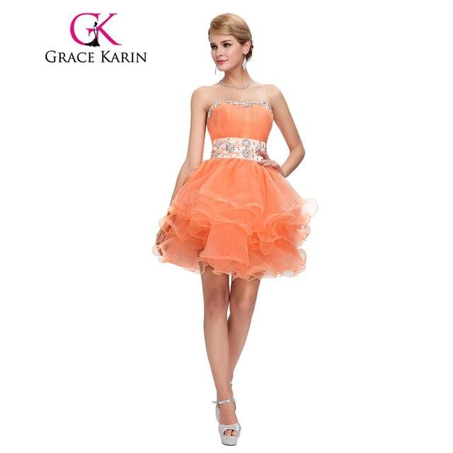 Grace karin cristais prom vestidos curtos prom dress strapless voile orange back to school partido ball vestido especial ocasião dress