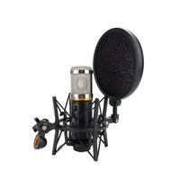 Condenser Microphone Shock Mount With Pop Filter Mic Windscreen Shield Anti Vibration Suspension Metal Mic Mount