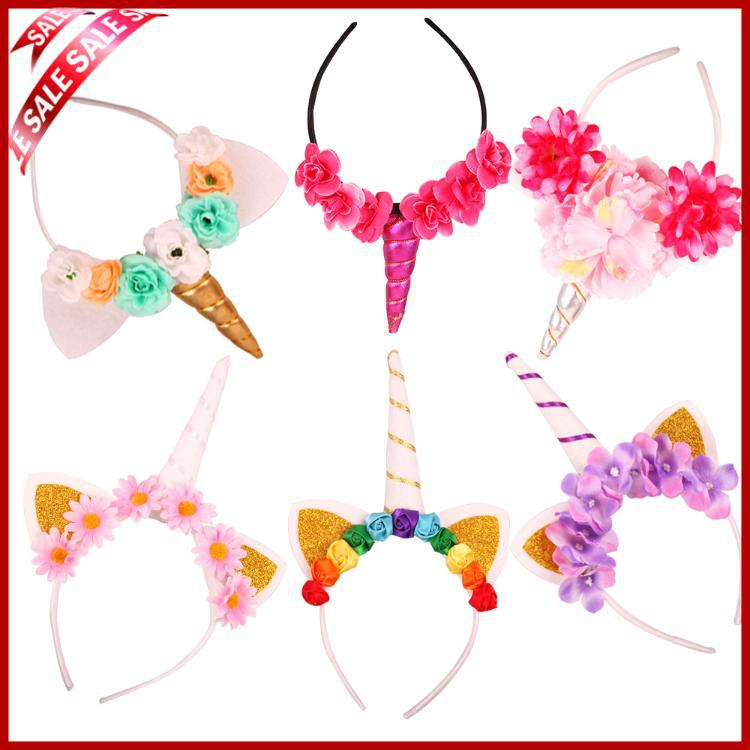 18 Colors Handmade Kids Party Unicorn Headband Horn Glittery Beautiful Headwear Hairband Hair Accessories Princess Unicorn Party